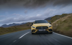 Picture Mercedes-Benz, speed, AMG, hatchback, UK-spec, 2020, 4MATIC+, A45 S, Aerodynamic Package