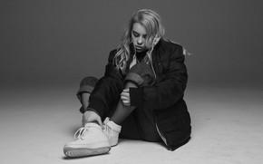 Picture black & white, jacket, blonde, black and white, singer, sneakers, singer, Billie Eilish, Billy Iles