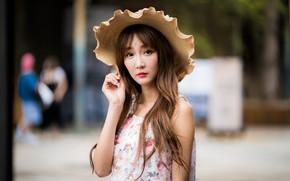 Picture look, girl, hat, Asian, bokeh
