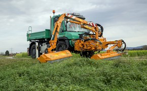 Picture grass, Mercedes-Benz, truck, roadside, equipment, Unimog, U529