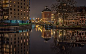 Picture water, night, bridge, lights, reflection, river, tree, home, lights, channel, Netherlands, Groningen