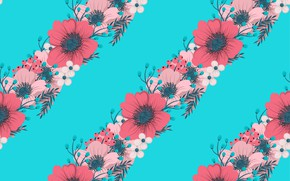 Picture pattern, flowers, flowers, Red, Texture, background, leaves, Blue, texture, blue, Hand, Pink