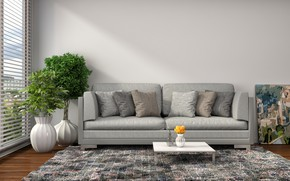 Picture flowers, sofa, interior, pillow, modern