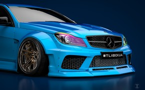 Picture Mercedes-Benz, Blue, Machine, Blue background, Mercedes, Car, C63, Widebody, Transport & Vehicles, November Tlibekov, by …