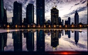 Picture city, lights, Dubai, twilight, sky, sunset, photographer, water, clouds, evening, reflection, buildings, cityscape, UAE, United …