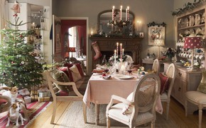 Picture decoration, tree, candles, New Year, Christmas, gifts, fireplace, festive table, dining room