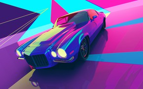 Picture Auto, Machine, Style, Car, Render, Style, Neon, Rendering, Illustration, Explosion, 80's, Synth, Retrowave, Synthwave, New …