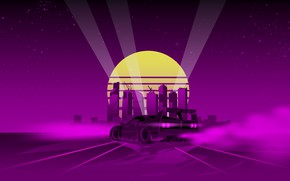Picture The sun, Music, The city, Silhouette, Background, Ferrari, 80s, Neon, 80's, Synth, Retrowave, Synthwave, New …