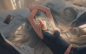 Picture girl, sleeping, smartphone