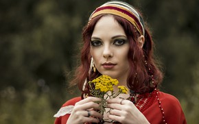 Picture girl, flowers, portrait
