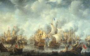 Picture oil, picture, canvas, Ian Abraham Bearstate, Battle in Terheide. On 10 August 1653, Jan Abrahamsz …