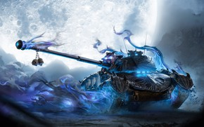 Picture Skull, The moon, Halloween, Tank, Ghost, Ghost, Phantom, World of Tanks, Necromancer, Pz.58