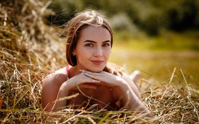 Picture look, girl, pose, smile, hay, Alexey Gilev