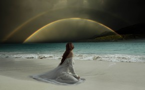 Picture sea, beach, girl, mountains, clouds, rendering, back, rainbow, dress, surf, sitting, photoart