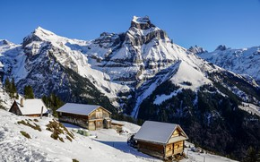 Picture Switzerland, Alps, houses, snow, mountains, winter