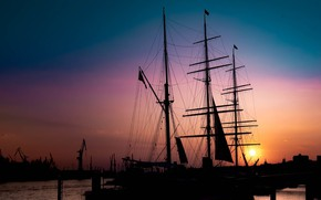 Picture ship, sailboat, the evening, mast