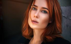 Picture look, close-up, background, model, portrait, makeup, hairstyle, redhead, bokeh, Elvira, Alexander Drobkov