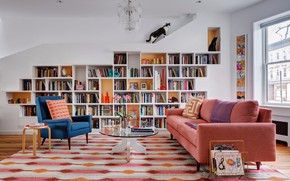 Picture room, interior, library, living room, House in New York