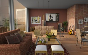 Picture design, table, room, sofa, chairs, interior, picture, guitar, pillow, ladder, dishes, living room, stools