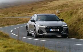 Picture road, Audi, markup, bending, universal, RS 6, 2020, 2019, V8 Twin-Turbo, RS6 Avant, UK-version