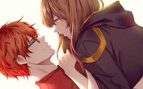 Picture girl, romance, the game, anime, art, guy, two, mystic messenger