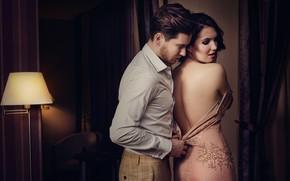 Wallpaper girl, room, back, dress, pair, male, lovers