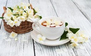 Picture flowers, tea, Cup, basket, Jasmine, Olena Rudo