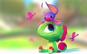 Picture mood, butterfly, art, lizard, bat, children's, Nicholas Kole, Yooka Laylee