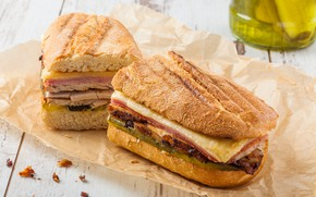 Picture paper, table, cheese, bread, bokeh, fast food, sandwiches, ham, sandwiches
