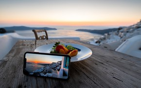 Picture city, photography, landscape, photo, sunset, photographer, food, houses, fruit, table, Santorini, Greece, peaches, smartphone, Vavaca, …
