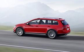 Picture road, red, Volkswagen, universal, 2014, Golf Alltrack