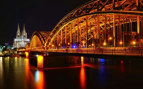 Picture night, bridge, river, Germany, Germany, Cologne, Cologne, his night-glow of the city, Hohenzollern Bridge