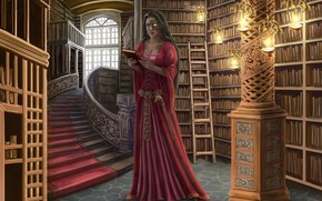 Picture girl, books, library, shelves