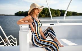 Picture summer, girl, pose, hat, yacht, Kirill Lukoyanov, Christina Starshinin