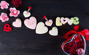 Picture gift, heart, roses, hearts, love, heart, pink, romantic, valentine's day, roses, cookies