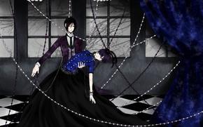 Picture anime, art, Ciel, Dark Butler, Kuroshitsuji, Sebastian