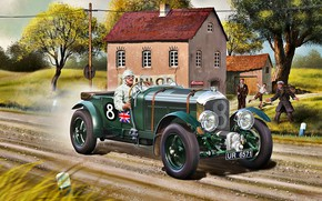 Picture road, grass, trees, house, Bentley, Driver, Blower, race car, 4.5L