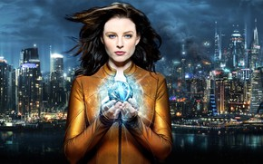 Picture girl, the city, the series, sphere, Continuum, photoart, Rachel Nichols