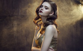 Picture look, light, pose, background, model, smoke, lamp, portrait, makeup, dress, hairstyle, beauty, bokeh, Rus, Michael …