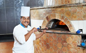 Picture mustache, pose, smile, fire, cook, male, oven, in white, uniform, Bathrobe, cap, Baker, oven-fork