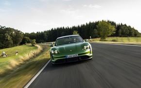 Picture road, speed, Porsche, roadside, Turbo S, 2020, Taycan