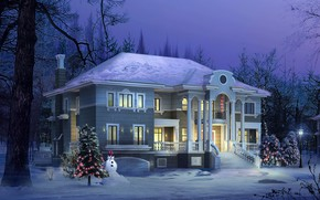 Picture winter, house, visualization