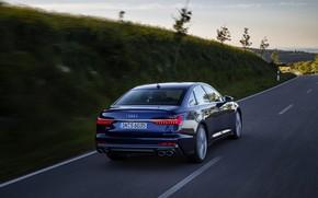 Picture road, Audi, back, sedan, dark blue, Audi A6, 2019, Audi S6