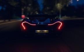 Picture McLaren, HDR, Lights, Night, Game, Trees, McLaren P1, UHD, P1, Xbox One X, Forza Horizon …