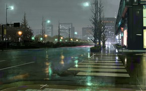 Picture road, the city, after the rain