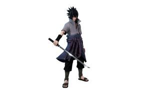Picture minimalism, white background, Naruto, Naruto, Sasuke Uchiha, 3D graphics