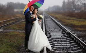 Picture umbrella, a couple, the bride, bokeh, the groom