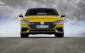 Picture the sky, asphalt, clouds, yellow, Volkswagen, front view, 2018, R-Line, liftback, 2017, Arteon