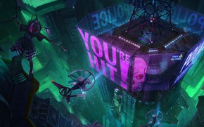 Picture The city, Neon, Style, Building, City, Fantasy, Art, Art, Style, Fiction, Neon, Buildings, Sci-Fi, Science …