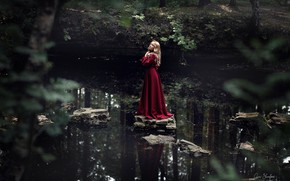 Picture look, water, girl, nature, pose, river, stones, dress, Anna Shuvalova